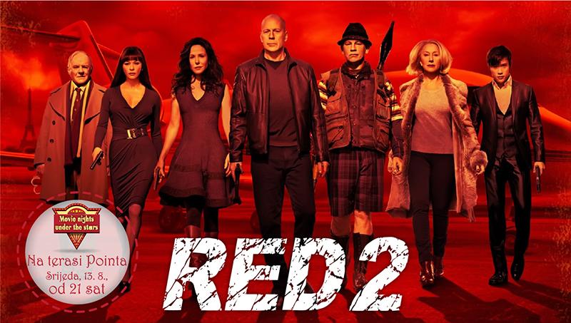 Projekcija odlične akcijske komedije 'Red 2' večeras na terasi Pointa