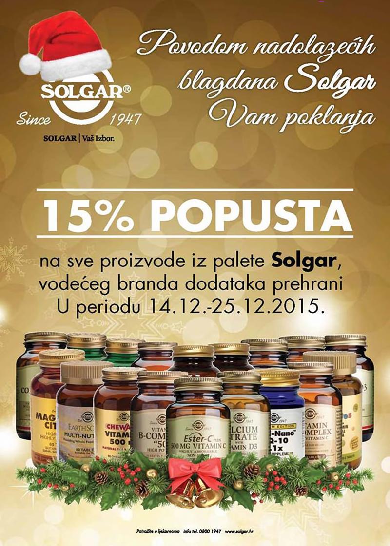 15% popusta na Solgar vitamine i minerale